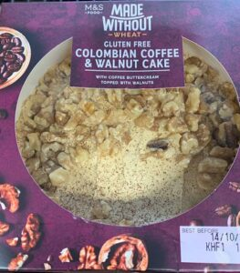 M&S gluten free coffee and walnut cake