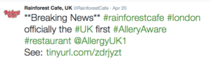Rainforest Cafe Allergy announcement