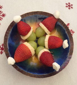 fruit santa, christmas dessert