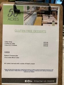 gluten free menu at Cheltenham RSL